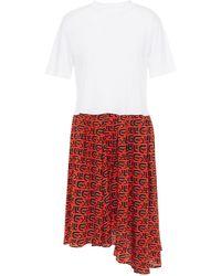 Être Cécile Être Cécile Sadie Cecile All Over Organic Cotton-jersey And Logo-print Silk Crepe De Chine Dress - White