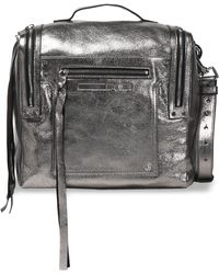 McQ - Woman Convertible Metallic Cracked-leather Backpack Gunmetal - Lyst