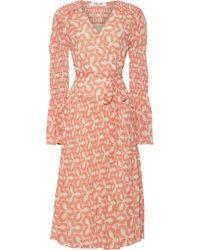 Diane von Furstenberg Ani Pleated Printed Chiffon Midi Wrap Dress Beige - Natural