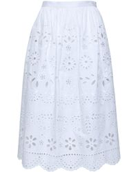RED Valentino Broderie Anglaise Midi Skirt White