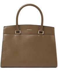 DKNY Sutton Textured-leather Tote Army Green