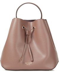 Kate Spade Pebbled-leather Bucket Bag Taupe - Brown