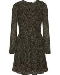 MICHAEL Michael Kors - Cole Smocked Printed Chiffon Dress - Lyst
