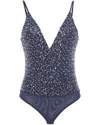 Jonathan Simkhai Open-back Sequined Tulle Bodysuit - Blue