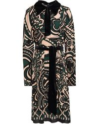 Anna Sui - Pussy-bow Velvet-trimmed Printed Crepe Dress Emerald - Lyst