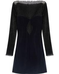 Alexander Wang - Open Knit-paneled Crepe Mini Dress - Lyst