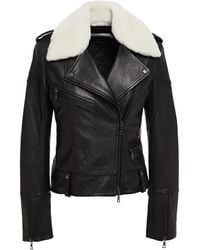 Victoria, Victoria Beckham Shearling-trimmed Leather Biker Jacket - Black