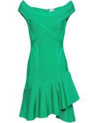 Hervé Léger Hervé Léger Off-the-shoulder Ruffled Bandage Mini Dress Jade - Green