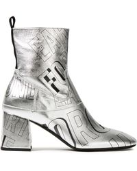 McQ Phuture Printed Metallic Leather Ankle Boots Silver