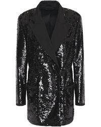 Dundas Faille-trimmed Sequined Tulle Blazer - Black