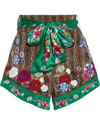 Camilla Belted Crystal-embellished Printed Silk Crepe De Chine Shorts Animal Print - Multicolour