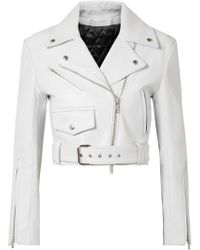 CALVIN KLEIN 205W39NYC Cropped Leather Biker Jacket White