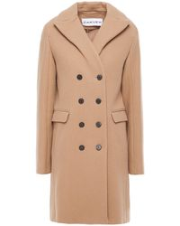 Carven Double-breasted Wool-blend Felt Coat Camel - Natural
