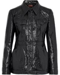 ALEXACHUNG - Woman Crinkled Faux Patent-leather Jacket Black - Lyst