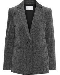 FRAME Herringbone Cotton-blend Velvet Blazer Grey - Gray