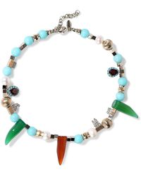 Iosselliani - Gold-tone, Bead, Crystal, Stone And Faux Pearl Necklace Multicolor - Lyst