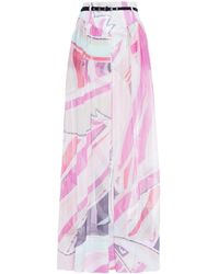 Emilio Pucci Belted Printed Metallic Silk-blend Jacquard Maxi Skirt - Pink