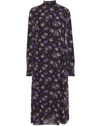 Ganni - Gathered Floral-print Georgette Midi Dress - Lyst