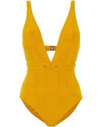 Jets by Jessika Allen La Paz Eyelet-embellished Stretch-jacquard Swimsuit - Yellow