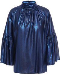 Hofmann Copenhagen Gathered Lamé Blouse Bright Blue
