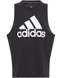 adidas Printed Cotton-jersey Tank - Black