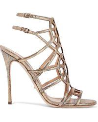 Sergio Rossi Laser-cut Glittered Metallic Textured-leather Sandals Gold