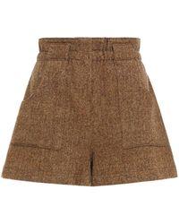 Ba&sh Peter Herringbone Wool-blend Tweed Shorts - Brown