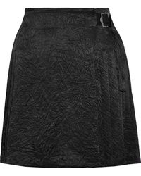 Opening Ceremony - Pleated Crinkled-satin Wrap Mini Skirt - Lyst