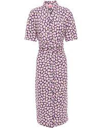 Kate Spade Gathered Floral-print Cady Midi Shirt Dress Lilac - Purple