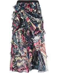 Mary Katrantzou Ruffled Printed Silk-crepe Midi Skirt - Blue