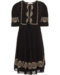 Vanessa Bruno Embroidered Checked Jacquard Mini Dress - Black