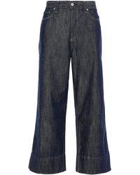 AG Jeans Etta Cropped High-rise Wide-leg Jeans Dark Denim - Blue