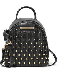 Donna Karan Mini Studded Quilted Leather Backpack Black