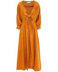 Nicholas - Tie-front Linen Midi Dress - Lyst