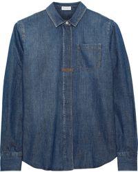 Brunello Cucinelli Bead-embellished Cotton-chambray Shirt Mid Denim - Blue