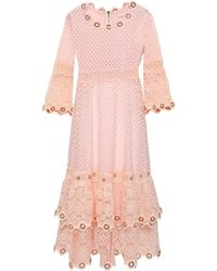 Maje - Tiered Embellished Guipure Lace Dress - Lyst