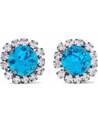 Kenneth Jay Lane - Gunmetal-tone Crystal Clip Earrings Light Blue - Lyst