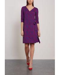 Diane von Furstenberg New Julian Printed Cotton And Silk-blend Wrap Dress Cobalt Blue