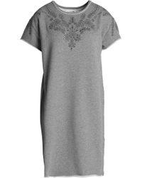 Rag & Bone - Embroidered Mélange Cotton Mini Dress Light Grey - Lyst