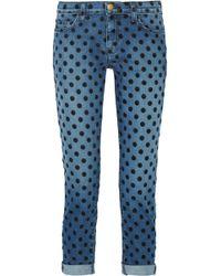 Current/Elliott - The Fling Flocked Mid-rise Straight-leg Jeans Mid Denim - Lyst
