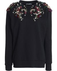 Dolce & Gabbana - Embellished French Cotton-terry Sweatshirt - Lyst