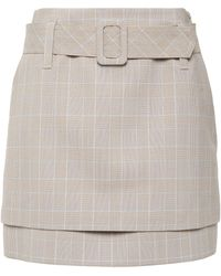 Maje Belted Layered Prince Of Wales Checked Woven Mini Skirt Neutral - Multicolour