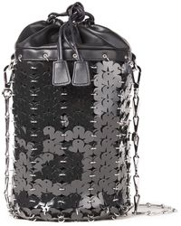 Paco Rabanne Chainmail And Leather Bucket Bag - Black