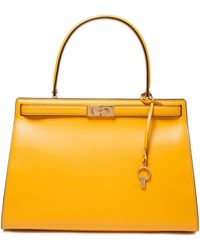 Tory Burch Lee Radziwill Leather Tote Saffron - Yellow