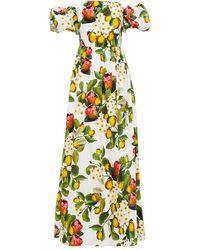 Borgo De Nor - Juliet Off-the-shoulder Printed Cotton-poplin Maxi Dress White - Lyst
