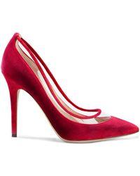 Valentino Garavani Pvc-trimmed Bow-embellished Velvet Pumps - Red