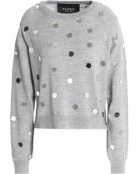 Paper London - Embellished Mélange Wool Sweater - Lyst