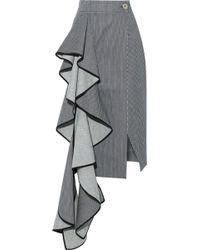 Solace London - Aideen Ruffled Striped Denim Midi Skirt - Lyst