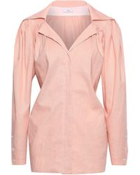 TOME Tie-back Cotton And Flax-blend Shirt Blush - Pink