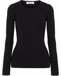 Diane von Furstenberg - Cutout Ribbed Merino Wool-blend Sweater - Lyst